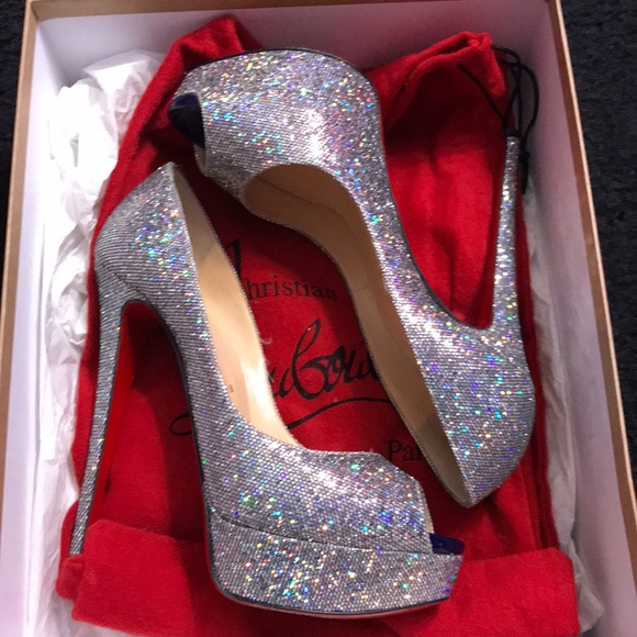 6fb8d79f5a7 Christian Louboutin Shoes - Lady peep Glitter Disco Ball shoes